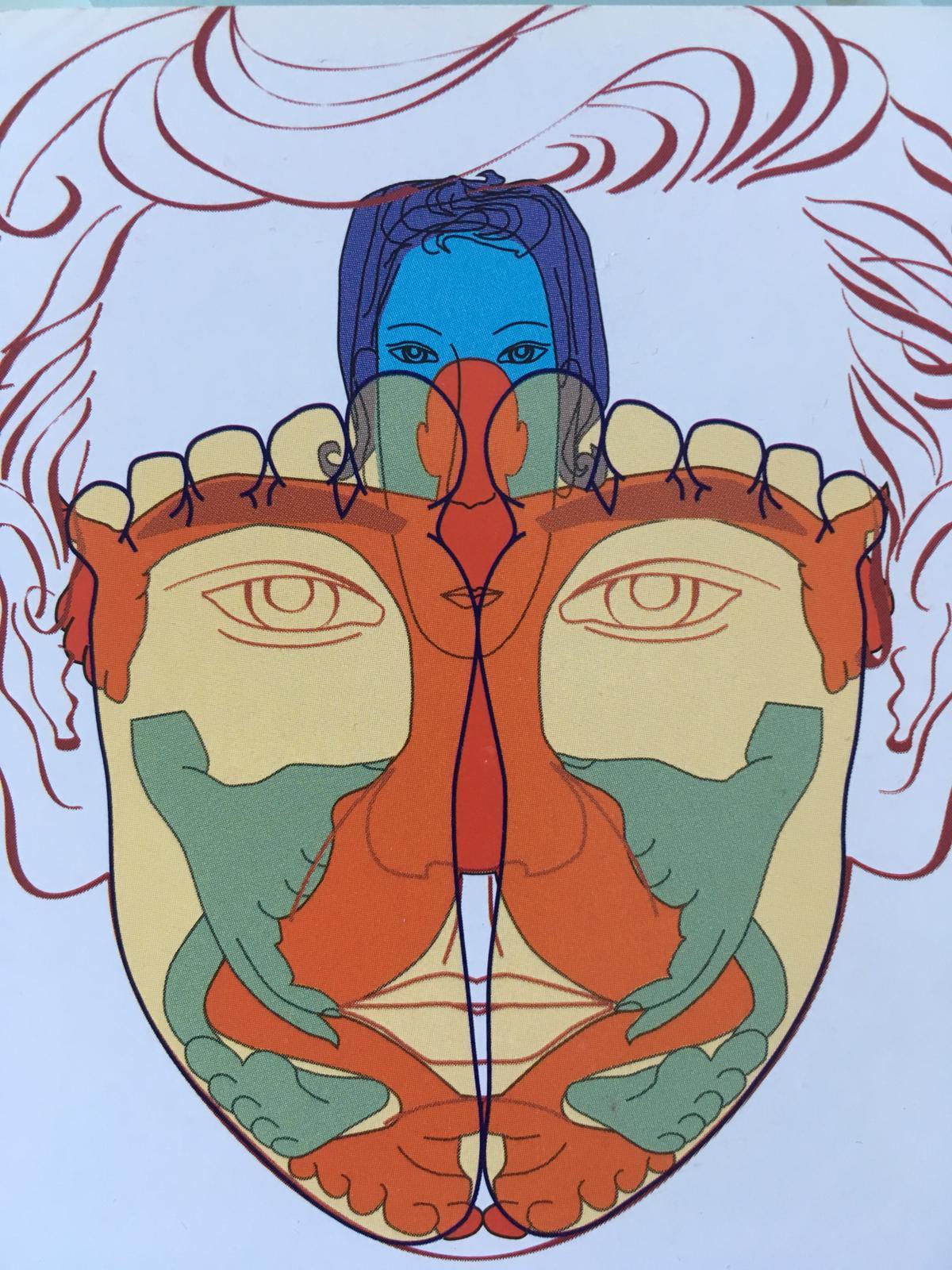 Dessin abstrait réflexologie faciale sur pied