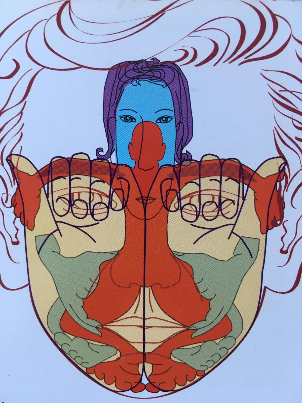 Dessin abstrait réflexologie faciale sur main