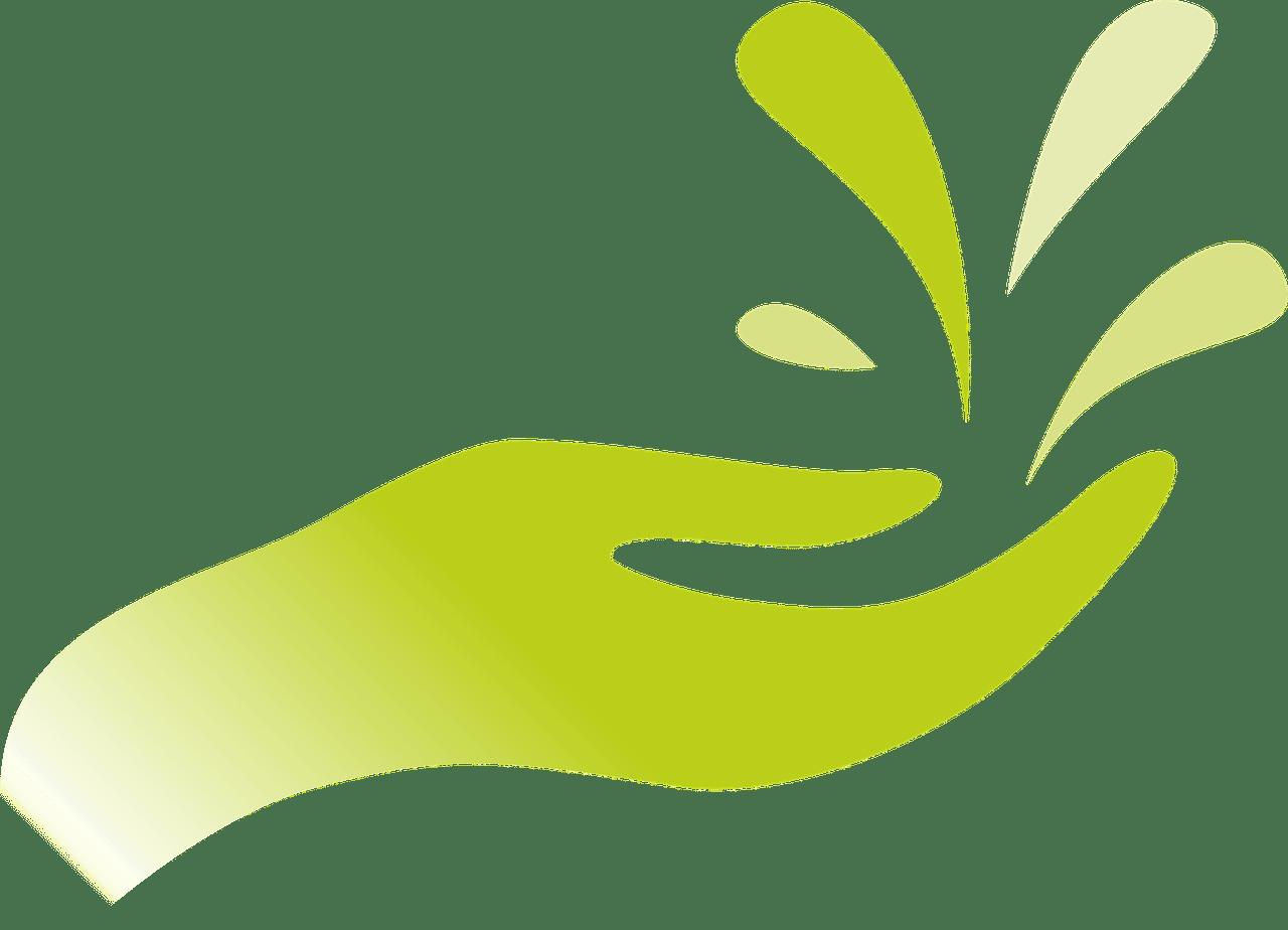 Main verte signifiant le bienfait